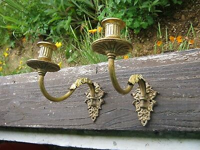 Pair of Antique Bronze Piano Sconces