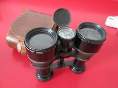 Antique  LAWRENCE & MAYO - THE LYNX   BINOCULARS w/ COMPASS - WW1 w/ CASE  #9