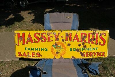 "Large Vintage 1930's Massey Harris Farm Tractor Gas Oil 60"" Porcelain Metal Sign"