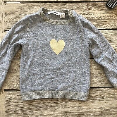 COUNTRY ROAD Baby Girls Heart Jumper 12-18mths 1 Soft  Grey