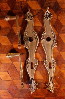 VINTAGE Pair French Gilt Brass Door Handles Backplates Keyhole Chateau Rococo !!