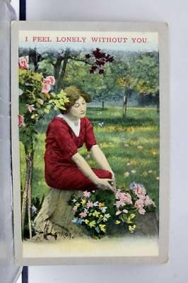 Greetings Feel Lonely Without You Postcard Old Vintage Card View Standard Post