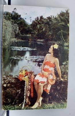 Hawaii HI Hawaiian Maiden Liles Palms Tropical Setting Postcard Old Vintage Card