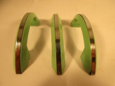 3 Hollymad Vintage Art Deco/Retro Green Plastic & Chrome Drawer Pulls/ Cabinet
