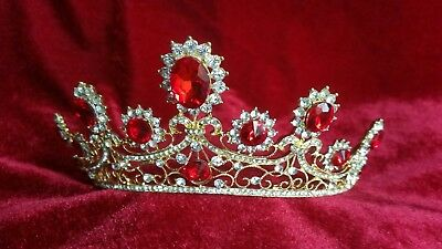Tiara red prom bridal wedding bridal occasions crown prop queen party celebrate
