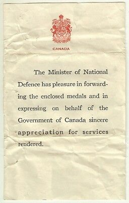 MND Canada Minister National Defense Small Certificate  Accompanying WW2 Medals