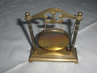 Old Brass Dinner Gong With Hammer On Stand