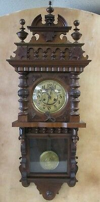 ANTIQUE 1800s FREDERICK MAUTHE WALL CLOCK 8 DAY TIME STRIKE W/ MATCHING PENDULUM