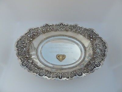 STUNNING RARE SIGNED YOGYA INDONESIAN SOLID SILVER DISH BOWL TRAY 330 gr 11.6 oz