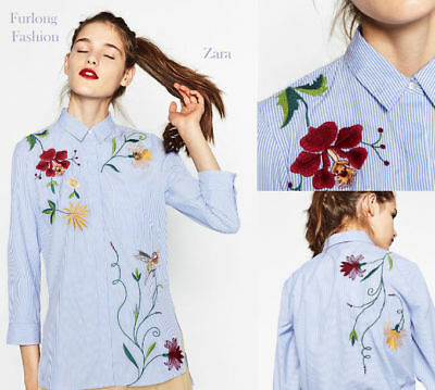 GENUINE ZARA blue white stripe embroidered floral bird shirt size L