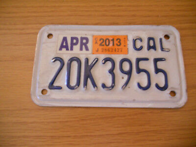 "US license plate Expired  California motorcycle ""20K3955"""
