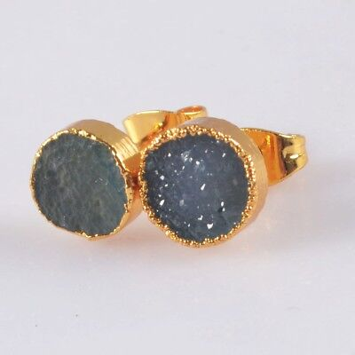 8mm Round Blue Agate Druzy Geode Stud Earrings Gold Plated B052805