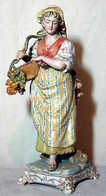 """A Nice Old Antique Porcelain Figurine With Unknown Blue Arrow Mark 9 1/4"""" Tall"""