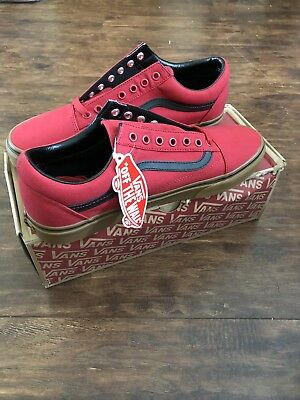 4335f100bf72b4 NEW Vans Old Skool (Gum) Racing Red   Black Skate Shoes Men s 11
