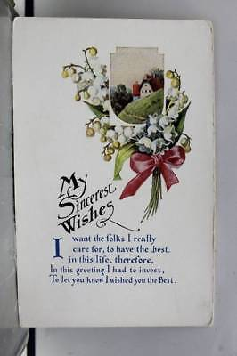 Greetings My Sincerest Wishes Postcard Old Vintage Card View Standard Souvenir