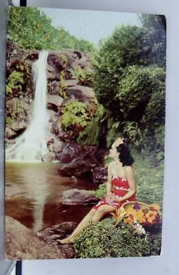 Hawaii HI Island Girl Waterfall Postcard Old Vintage Card View Standard Souvenir