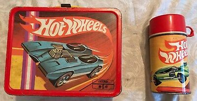 Vintage 1969 Hot Wheels Lunchbox W/ Matching Thermos