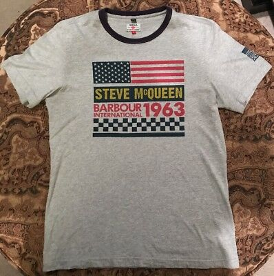 "RARE Steve McQueen BARBOUR INTERNATIONAL ""1963 USA"" T-Shirt 