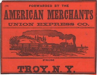 mid-1800's American Merchants Union Express CO SHIPPING LABEL from Troy, NY NICE