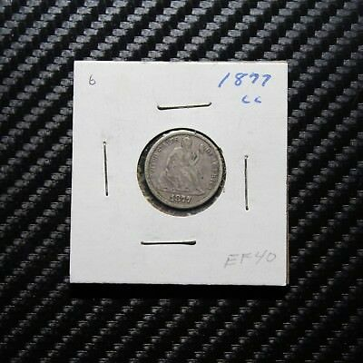 1877 CC Seated Liberty Dime XF - Carson City