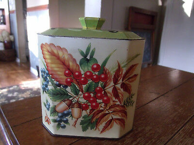 Vintage Candy Tin-Barratts Pied Piper -England-Berries and Leaves-Fall Colors