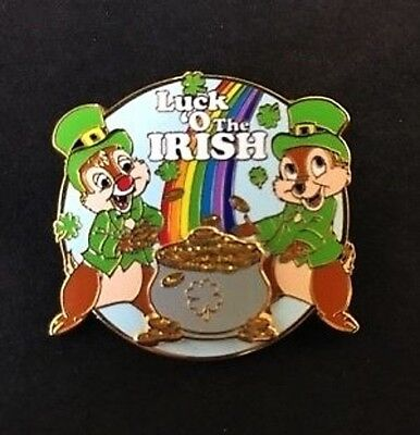 Disney Chip and Dale Luck o' the Irish Pin -- New on Card!