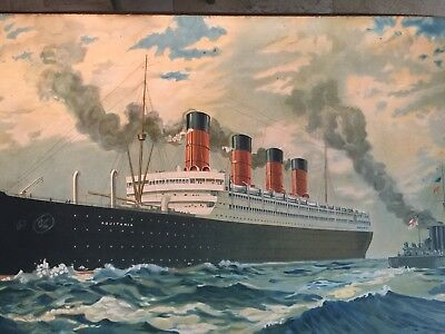 1914???? Cunard Line Aquitania Steamship Advertising Picture Oversized 31x45 In