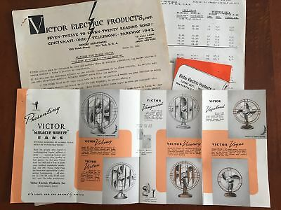 1941 Victor Electric Miracle Breeze Fan Catalog Brochure Lot Revolaire Vintage