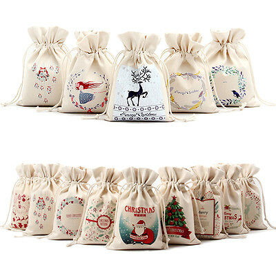 Christmas Gift Candy Bags Canvas Santa Sack Drawstring Bags Xmas Decoration SEAU