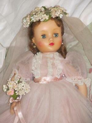 "16"" Vintage Madame Alexander Vintage Elise Doll, Pink Ballgown, Crown of Flowers"