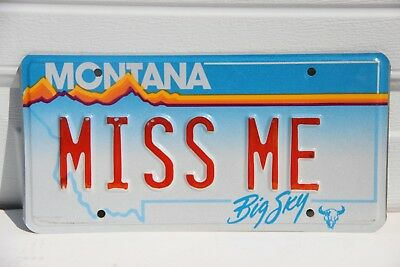 Montana License Plate personalized MISS ME vanity Red letters