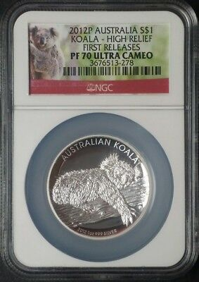2012P High Relief Australia Koala 1 Oz Silver NGC PF70 UCAM FIRST RELEASES