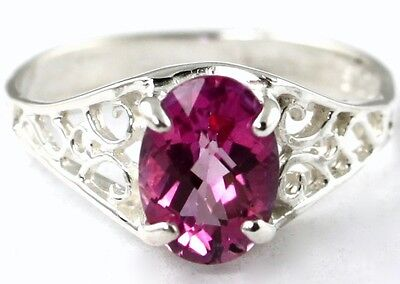 • SR005, Pure Pink Topaz, Sterling Silver Ladies Ring -Handmade