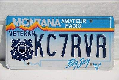 Montana License Plate Veteran U S Coast Guard Amateur Radio Big Sky