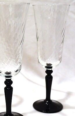 Set of FOUR Arcoroc BLACK STEMMED SWIRL CHAMPAGNE FLUTES or PARFAIT GLASES