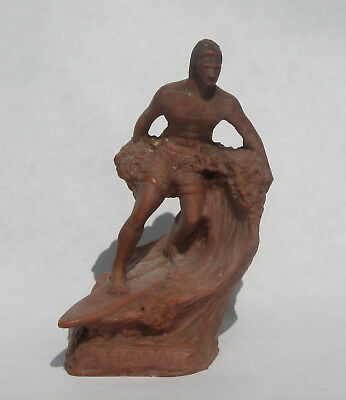 Vintage Poly Art Hawaii Surfrider Figurine unknown if Lava or Soapstone?
