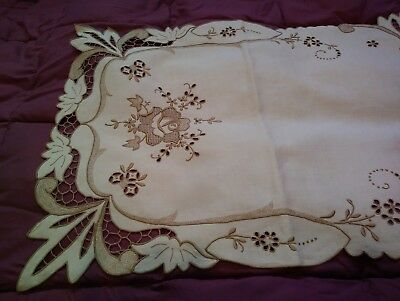"Exceptional Madeira Embroidered and Cutwork 42"" x 16"" Quality Linen Table Runner"