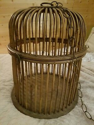 """Large vintage, antique BAMBOO BIRD CAGE Dome Lid Hanging Brass Chain 18""""x15"""""""