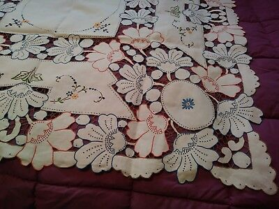 Exquisite Color Embroided and Cutwork Madeira Linen Tablecloth 66 by 50 Inches