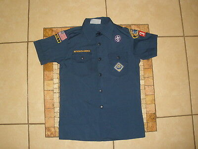 Youth Boys BSA Boy Scouts of America Navy Blue SS Shirt USA MADE Large 14-16