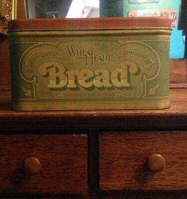 Vintage 1977 R&D Co Wheat Heart Brand Oven Baked Bread Box Tin Food Counter