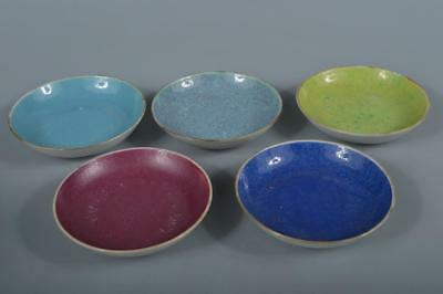 R16: Chinese Pottery Colored porcelain SMALL PLATE/dish 5pcs, auto Tea Ceremony