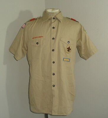 Mens BSA Boy Scouts of America Short Sleeve Khaki Shirt USA MADE Large 16-16.5
