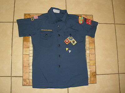 Youth Boys BSA Boy Cub Scouts of America Navy Shirt USA MADE Large 14-16