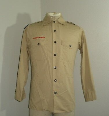 Adult Mens BSA Boy Scouts of America Long Sleeve Shirt USA MADE SMALL 14-14.5