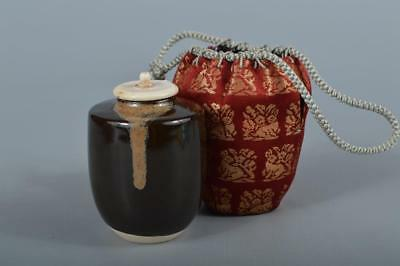 R115: Japanese Kiyomizu-ware Seto glaze TEA CADDY Chaire Container Shifuku
