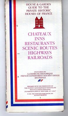 Private Historic House & Gardens of France Guide 1981 Air France Road Map RARE
