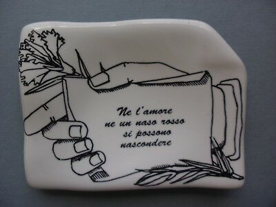 Fornasetti Milano Messaggio D'amore Porcelain Small Ashtray Plate, New