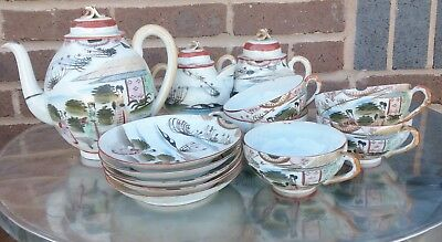 Vintage Japanese Or Chinese Thin Porcelain 13 Piece Hand Painted Tea Set & Plate