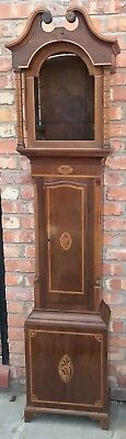 STUNNING Antique Inlaid Mahogany Grandfather Longcase Clock Case Marquetry Inlay